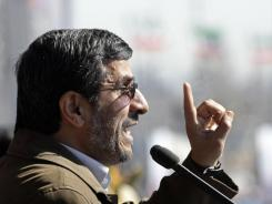 Iranian President Mahmoud Ahmadinejad gestures Saturday as he delivers his speech at a rally to mark the 33rd anniversary of the Islamic Revolution.