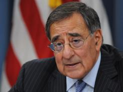 Defense Secretary Leon Panetta briefs the media on cuts in the Defense budget on Jan. 26.