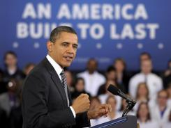 Obama speaks about the Community College to Career Fund on Monday at Northern Virginia Community College in Annandale, Va.