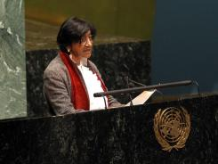High Commissioner for Human Rights Navi Pillay delivers remarks on Syria at United Nations headquarters in New York on Monday.