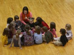 Christine Bodwitch teaches a creative movement class. Bodwitch is part of a home-schooling co-op that meets every Friday at a rented space at a church in Dunellen, N.J.