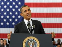 President Obama discusses his budget proposal in Annandale, Va., on Monday.