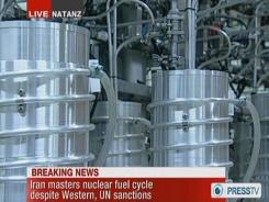 An image grab taken from Wednesday's broadcast on state-run Press TV shows centrifuges at Iran's Natanz nuclear site.