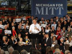 Mitt Romney speaks at a campaign rally in Kentwood, Mich., on Wednesday.