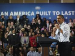 President Obama speaks in Milwaukee on Wednesday. Obama has highlighted the rebounding economy as he enters his re-election campaign.