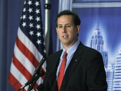 Rick Santorum speaks during the Detroit Economic Club luncheon on Thursday.