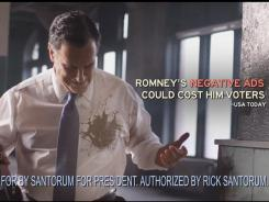 "A screengrab from Rick Santorum's ""Rombo"" ad targeting Mitt Romney."