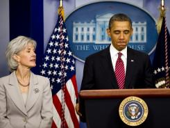 President Obama, accompanied by Health and Human Services Secretary Kathleen Sebelius, announces on Feb. 10 a modification to a rule requiring religious employers provide access to contraceptives.