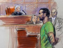 In this courtroom sketch, Amine El Khalifi appears before U.S. District Judge T. Rawles Jones Jr. in a Virginia federal court on Friday.