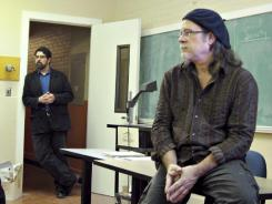 "Oregon State University professors Joseph Orosco, left, and Tony Vogt lead a discussion during a political philosophy of ""Occupy Wall Street"" class in Corvalis, Ore."