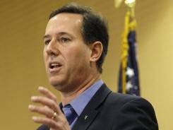 Republican presidential candidate and former U.S. senator Rick Santorum speaks during a Saturday Tea Party rally in Columbus, Ohio.