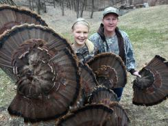 Elsa Anderson, 14, of Des Moines, started turkey hunting with her father Steve when she was 9. They have collected turkey fans together over the years.