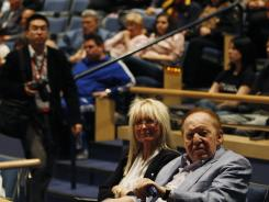 Sheldon and Miriam Adelson, who attended the special evening Republican Caucus in Las Vegas on Feb. 4, are big donors to GOP candidates.