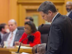 Thomas Kleinert, a pastor in Nashville, speaks against a bill seeking to ban teaching about gay issues in middle and elementary schools during a House Education Subcommittee meeting on Wednesday.