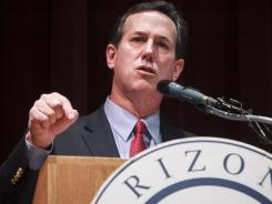 Rick Santorum campaigns in Phoenix on Tuesday.