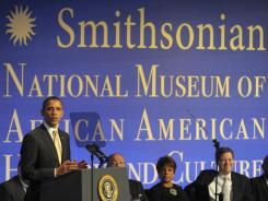 President Obama speaks at the groundbreaking for the National Museum of African American History and Culture.
