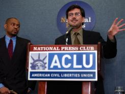 David Fathi, right, director of the American Civil Liberties Union's National Prison Project, speaks at the National Press Club in this 2004 file photo.