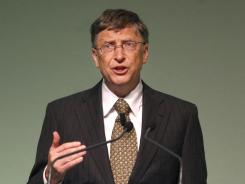 Microsoft Corp. chairman and philanthropist Bill Gates delivers his speech during the IFAD, International Fund For Agricultural Development Annual Governing Council, at Rome's IFAD headquarters on Thursday.