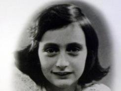 A photo of Anne Frank on display at the Holocaust Museum in Houston.