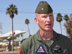 Marine Col. Robert Kuckuk, commanding officer for the Marine Corps Air Station Yuma, answers questions about the crash of two helicopters.
