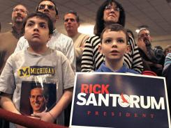 Santorum supporters at a Tea Party rally Saturday in St. Clair Shores, Mich. Michigan holds its primary Tuesday.