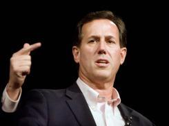 Rick Santorum campaigns at a tea party town hall meeting Saturday in Hixson, Tenn.