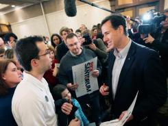 Rick Santorum campaigns in Lansing, Mich., on Monday.