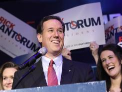 Republican presidential candidate Rick Santorum speaks during his primary election night party on Tuesday in Grand Rapids, Mich.