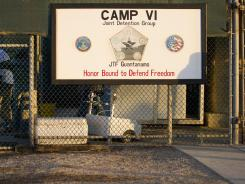The front gate to the &quot;Camp Six&quot; detention facility at the U.S. Naval Station in Guantanamo Bay.