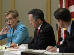Rep. Marcy Kaptur, Rep. Dennis Kucinich, center, and businessman Graham Veysey are competing in the Democratic primary for the 9th District in northern Ohio.