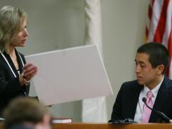 Middlesex County (N.J.) First Assistant Prosecutor Julia McClure, left, questions Geoffrey Irving, a Rutgers graduate who was the captain of Dharun Ravi's ultimate frisbee team in September 2010.