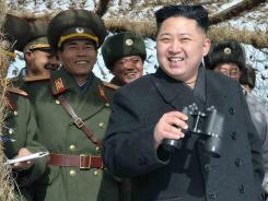 North Korean leader Kim Jong Un inspects units of the Korean People's Army in February.