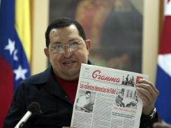 Venezuelan President Hugo Chavez speaks during a TV program in Havana recorded on Saturday.