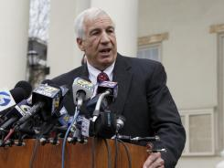 Jerry Sandusky speaks to the media at the Centre County Courthouse after a bail conditions hearing on Feb. 10.
