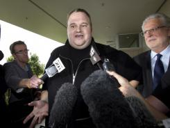 Kim Dotcom, the founder of the file-sharing website Megaupload, comments after he was granted bail and released in Auckland, New Zealand.