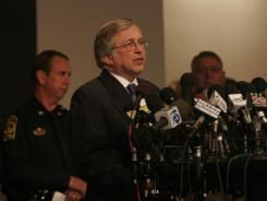 Virginia Tech President Charles Steger addresses the media on April 17, 2007, the day after the deadly shooting massacre.