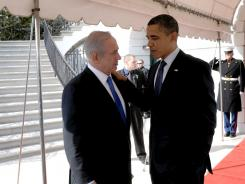 President Obama talks with Prime Minister Benjamin Netanyahu outside the White House on Monday.