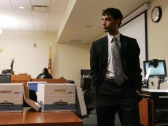 Dharun Ravi leaves the courtroom during a break in his trial at the Middlesex County Courthouse in New Brunswick, N.J., on Tuesday.