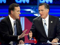 Ready for Super Tuesday: Republican presidential candidates Rick Santorum, left, and Mitt Romney debate on Feb. 22 in Mesa, Ariz.