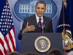 President Obama speaks during a press conference in the Brady Press Briefing Room of the White House.