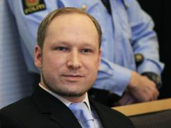 Anders Behring Breivik, who killed 77 people in twin attacks in Norway last July, looks on in court on Feb. 6.