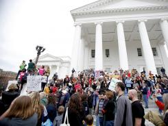 Hundreds gather at the Capitol in Richmond, Va., on Saturday to protest anti-abortion legislation.