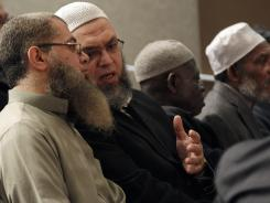 Tarek Ewis, left, and Khaled Hussein attend an interfaith news conference Thursday at Saint Peter's College in Jersey City to address concerns about the spying conducted by NYPD on the Muslim community in New Jersey.