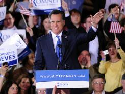 Thanking Boston: Republican presidential hopeful Mitt Romney greets Super Tuesday supporters.