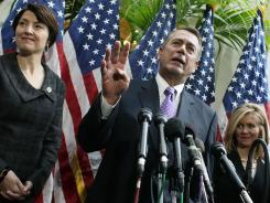 House Speaker John Boehner speaks Feb. 1, joined by Rep. Cathy McMorris Rodgers, left, and Rep. Marsha Blackburn.