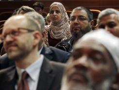A large gathering sits at Saint Peter's College in Jersey City, N.J., on Thursday, during a news conference to address concerns about NYPD spying on Muslims.