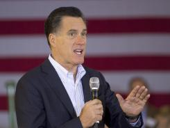 Republican presidential candidate Mitt Romney speaks at the Farmers Market in Jackson, Miss.