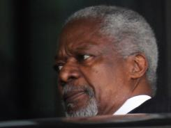 Kofi Annan, the United Nations special envoy to Syria, on his way to the presidential palace for a meeting with Syrian President Bashar Assad.