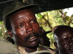 Joseph Kony answers questions following a meeting with U.N. humanitarian chief Jan Egeland in southern Sudan.