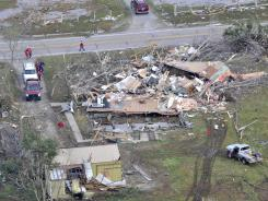 A mobile home photographed March 3 was obliterated in the tornado that hit the Henryville, Ind., area.